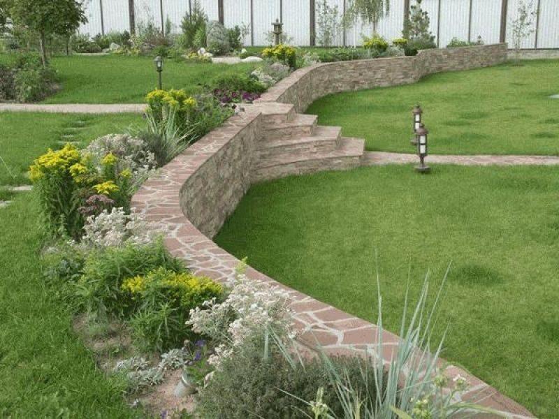 Изготовление подпорных стенок из натурального камня